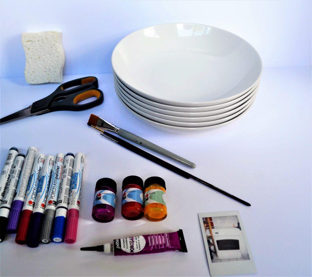 matériel diy assiette déco peinture