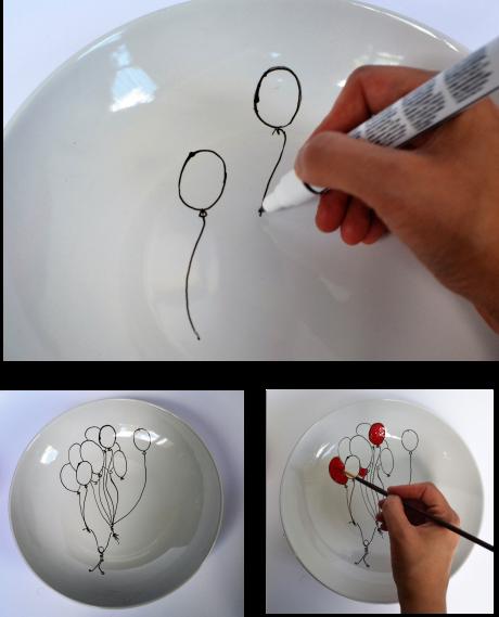 diy assiette ballon dessin
