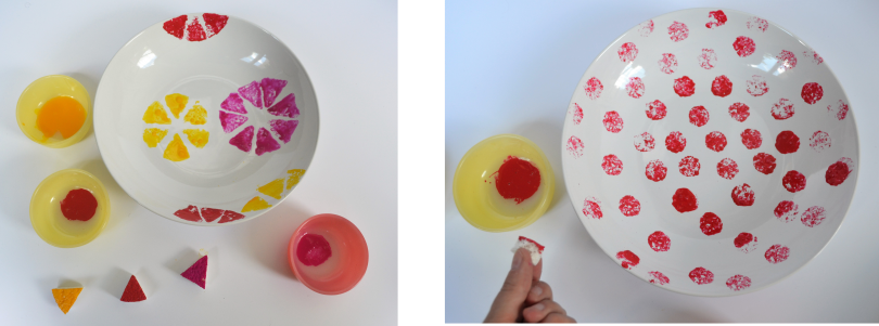 diy assiettes tampons peinture