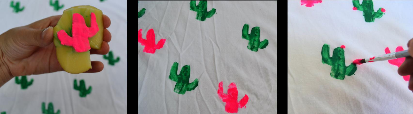 DIY tampons tee shirt cactus